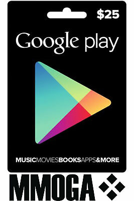 $25 USD Google Play Shop Card - 25 US Dollar Android Store Prepaid Code Key USA