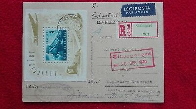 Hungary nice registered air-mail pc 1949 with chain-bridge sheet