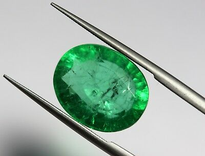 6.30 Ct Man-Made Emerald Loose Rich Green Color Oval Cut Transparent Gemstone
