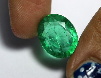 6.20 Ct Man-Made Emerald Loose Rich Green Color Oval Cut Transparent Gemstone