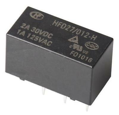 1 x HFD27/012-H DPDT PCB Mount Non-Latching Relay, 12V DC Coil, 1A @ 125V AC