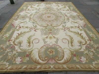 Old Hand Made French Design Wool Green Grey Original Aubusson 429X301cm