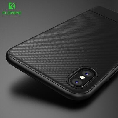 Ultra Thin Carbon Fiber Soft TPU Back Cover Phone Armor Case For iPhone X 8 7 6