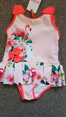 Ted Baker Girls pink flamingo print swimsuit 18-24 months