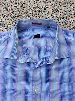 "PAUL SMITH - Blue-Lilac-Yellow-White Check - Button Cuff - Shirt -17.5"" collar"