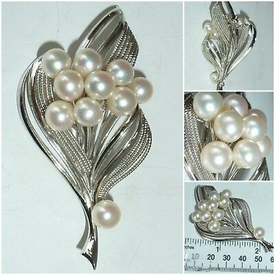 Vintage Sterling Silver cultured Pearl Flower Spray Brooch Pin