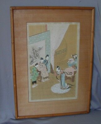 Gorgeous Antique  Finely Detailed Chinese Painting On Silk  Framed