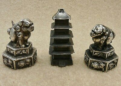 Three Old Antique Chinese Solid Silver Hallmarked Pepperettes Two Lions & Temple