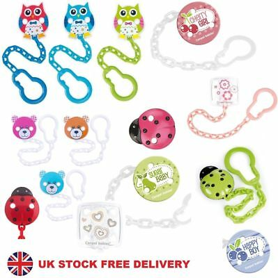 ❤ Safety Baby Dummy Soother Clip Holder Chain Green Blue Pink Strap Ribbon