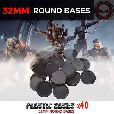 32mm 40 pcs Round Plastic bases for gaming miniatures and table games Figures