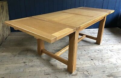 Large Chunky Solid Oak Extending Dining Table Rustic Farmhouse Delivery