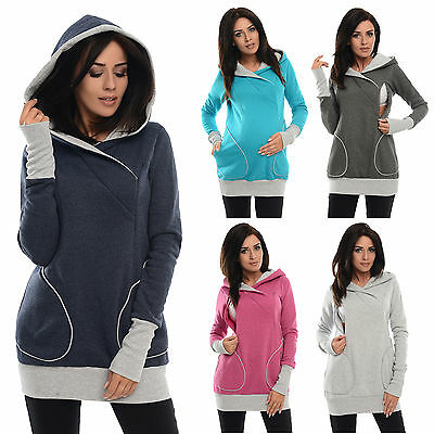 Purpless Maternity Pregnancy & Nursing Sweatshirt With Cross Over Neckline B9056