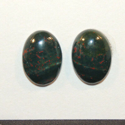 Bloodstone Cabochon 13x18mm with 5.5mm Dome from India set of 2 (13329)