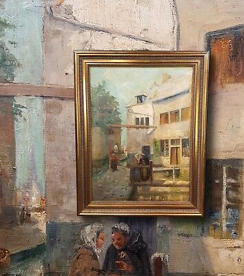Old Town in Brüssel. Original Oil Painting with Rahmung. Very Nice Impressionist