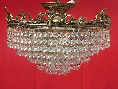 Crystal and Brass Chandelier, Antique, 36cm, French/Italian, Orante Brass. (132)