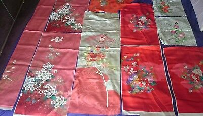 11 Vintage Antique Chinese Kimono Panels    100% SILK    Amazing Condition