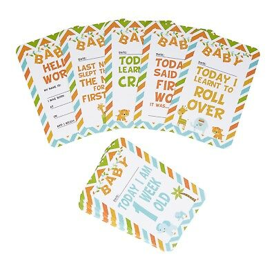 Animal Friends Baby Milestone Cards Pack of 28 Memorable Moments Shower Girl Boy
