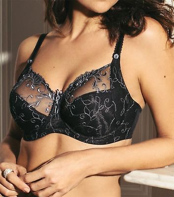 Pour Moi Imogen Rose 3804 Embroidered Underwired Full Cup Bra Black/Platinum