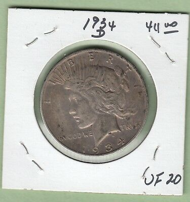 1934-D United States Peace Dollar Silver Coin - VF-20