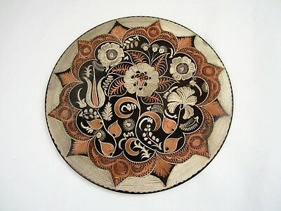 Amazing Round Wall Hanging Etched Floral Vintage Metal Art PLATE Copper Platter
