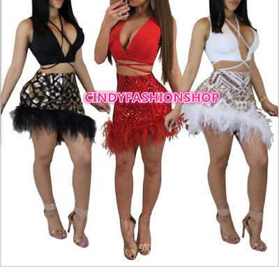 New Women Feather Party Two Piece Sequin Set V-Neck Bandage Mini Dress #S2