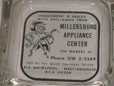 Millerburg, Pa. Appliance Center glass ashtray RCA Victor Whirlpool Westinghouse