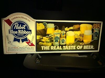Vintage Pabst Blue Ribbon Beer Lighted The Real Taste Of Beer 29x11 Light Sign