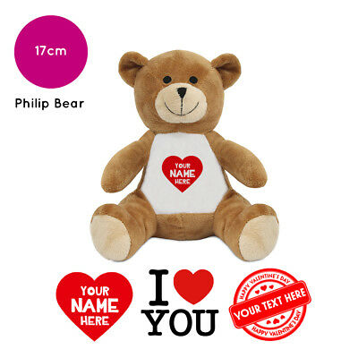 Personalised Name Valentines Day Philip Soft Toy Teddy Bear Gifts For Him / Her