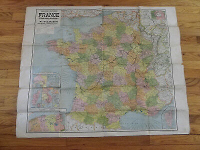 """40 1/2""""x33 3/4"""" World War I Era Map of France-Marked US Soldier's Route?-Taride"""