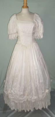 Vintage Ivory Wedding Dress- Hand Woven Silk- Pink Floral Embroidery- 1920's