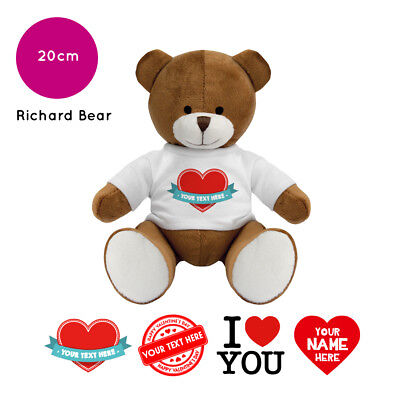 Personalised Name Valentines Day Richard Soft Toy Teddy Bear Gifts For Him / Her