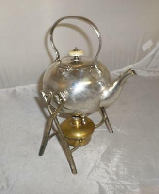Antique Silver Plate Spirit Kettle with Burner- Mappin & Webbs, London, 1910's
