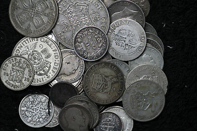 Lot of 47 Great Britain Silver Coins - 1834-1946 - See Description