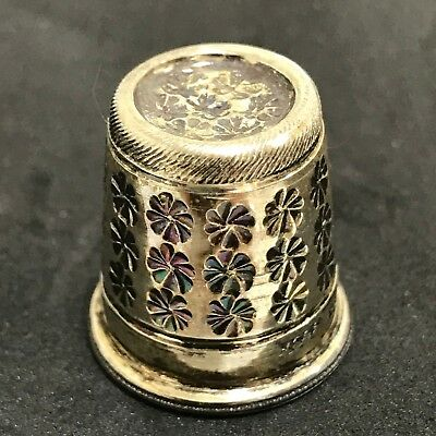 STERLING SILVER Vintage 1980's Thimbles x2 Etched Sewing Collectable Gift 481083