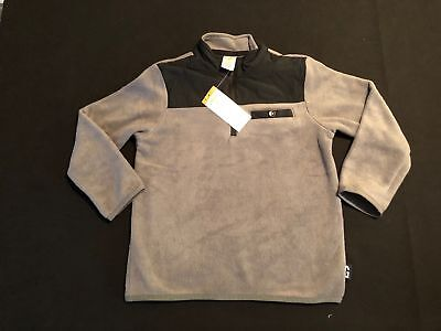 NWT Gymboree Boys Gray Black Fleece Pullover Jacket Size XS (4)