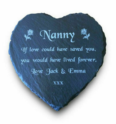 Personalised Engraved Slate Heart Memorial Grave Marker Plaque Nan Gran Grandad