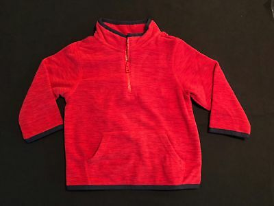 NWT Gymboree Boys Red Marled Fleece Pullover Jacket Size 12-24 M