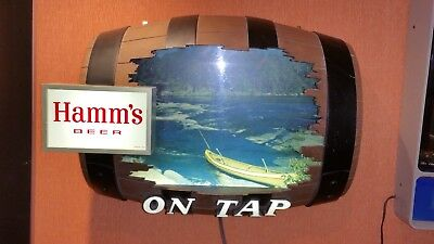 """Hamm's Large """"On Tap"""" Barrel Sign with Lighted Stream Scene- new lower shipping"""