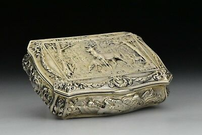 Antique Continental Silver Snuff Box with Relief Stag in Forest View