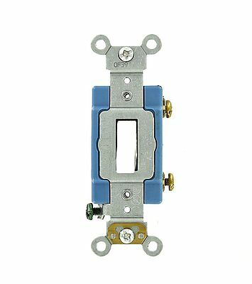 Leviton 1201-LHW 15 Amp Single-Pole Toggle Switch Industrial - White (Pkg of 10)
