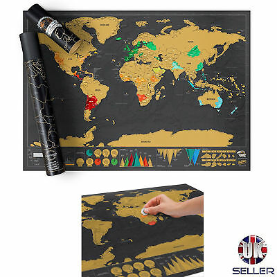 Original Scratch Map Deluxe Edition Personalised World Map Poster Travel Gift