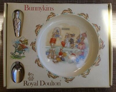 1981 Royal Doulton Bunnykins Nursery Set Mib Baby Plate & Feeding Spoon Bargain!