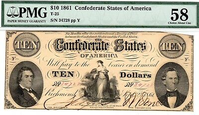 T-25 PF-2 $10 Confederate Paper Money 1861 - PMG Choice About Uncirculated 58!
