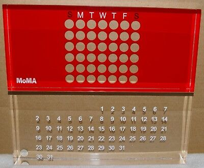 """MoMA Acrylic Perpetual Calendar Color Red size 3"""" H x 7"""" L x 1 1/2"""" D"""