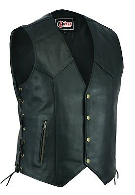 Real Leather Motorbike  Vest Waistcoat  Motorcycle With Laced Up Real Choice