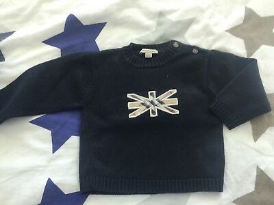 Burberry ❃ Sweaters pull-overs 12 / 18 months dark blue English flag cotton