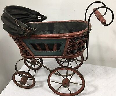 Vintage Victorian Style Doll Baby Buggy Carriage & Canopy Wicker, Wood and Metal