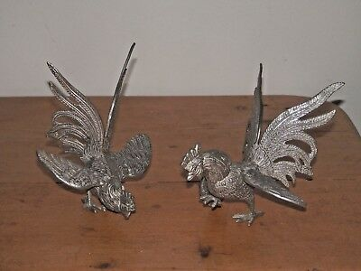 Vintage Silver Plated Novelty Pair of Fighting Cockerels