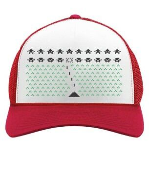 Space Geeky Xmas Invaders Funny Ugly Christmas Trucker Hat Mesh Cap Gift Idea