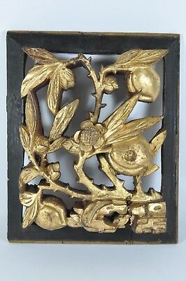 Fine Old China Chinese Carved Gilt Gold Temple Wood Panel Sculpture Scholar Art